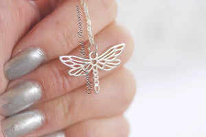 Dragonfly Necklace - Small Sterling Silver Openwork Auspicious Feng Shui Happiness Charm - Insurance Included