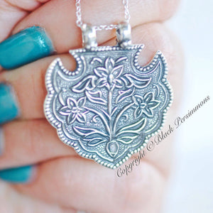 Serenity with Three Flowers Pendant Necklace - Solid 925 Sterling Silver