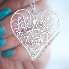 Balinese Filigree Heart Necklace - Solid 925 Sterling Silver Pendant - Insurance Included