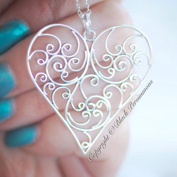 Balinese Filigree Heart Pendant Necklace - Solid 925 Sterling Silver