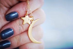 My Sun and Stars Necklace - 24K Gold Plated Sterling Silver Star with Genuine 1 Point Diamond Charm - 14K Gold Filled Delicate Chain