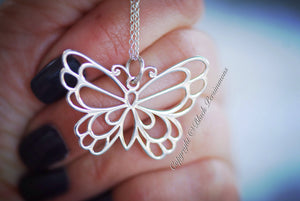 Butterfly Necklace - Solid 925 Sterling Silver Large Openwork Auspicious Love Creativity Long Life Feng Shui Symbol - Insurance Included