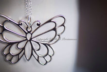 Butterfly Necklace - Oxidized Solid 925 Sterling Silver Large Openwork Auspicious Creativity Long Life Feng Shui - Insurance Included