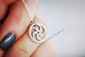 Steampunk Gear Necklace No. 2 - Sterling Silver Mechanical Cut Out Charm Pendant  - Insurance Included