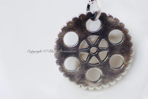 Steampunk Gear Necklace No. 3 - Solid 925 Sterling Silver Mechanical Cut Out Charm Pendant  - Insurance Included
