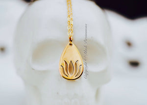 Renge Teardrop Cutout Necklace - Solid 925 Sterling Silver Lotus Flower Feng Shui Lian Hua Charm - Insurance Included