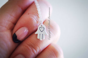 Hamsa Hand with Etched Heart Charm Necklace - Solid 925 Sterling Silver