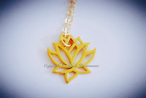Renge Lotus Flower Charm Necklace - Satin 24k Gold Plated Sterling Silver