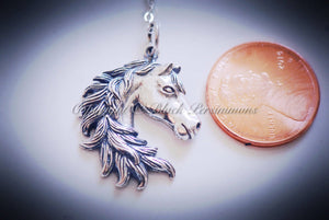 Year of the Horse Necklace - Solid 925 Sterling Silver Feng Shui Horse Head Pendant - Insurance Included