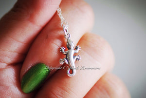 Gecko Necklace - Solid 925 Sterling Silver Lizard Charm - Insurance Included