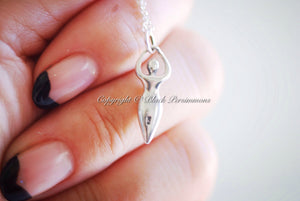 Fertility Goddess Charm Necklace - Solid 925 Sterling Silver