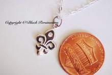 LAST ONE - Fleur de Lys Necklace - Sterling Silver Fleur de Lis  with Genuine 1 Point Diamond Charm Pendant - Insurance Included
