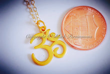 Ohm Necklace - 24K Gold Plated Sterling Silver Vermeil Omkara Om Auspicious Feng Symbol Pendant - Insurance Included