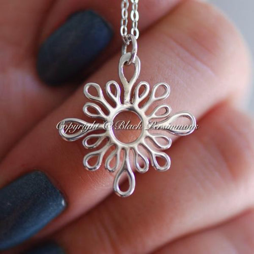 Abstract Sun-Like Necklace - Solid 925 Sterling Silver