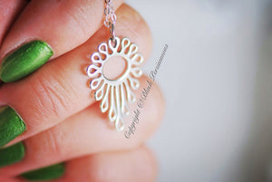 Teardrop Dripping Openwork Pendant Necklace - Solid 925 Sterling Silver