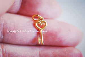 Tiny Heart Key Necklace - 24K Gold Plated Sterling Silver Vermeil Charm - 14K Gold Filled Delicate Chain - Insurance Included