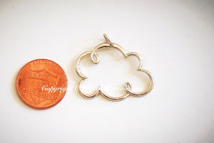 Cloud Cloud Necklace - Large Solid 925 Sterling Silver Pendant - Insurance Included