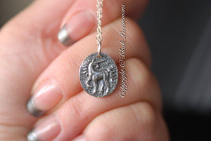 Ancient Unicorn Coin Pendant Necklace - Solid 925 Sterling Silver