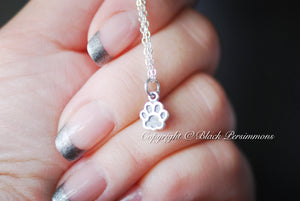 Dog Paw Print Necklace - Solid 925 Sterling Silver Charm - Insurance Included