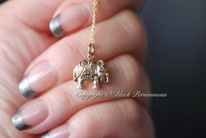 Elephant Necklace - Natural Bronze Auspicious Feng Shui Charm Pendant - Insurance Included