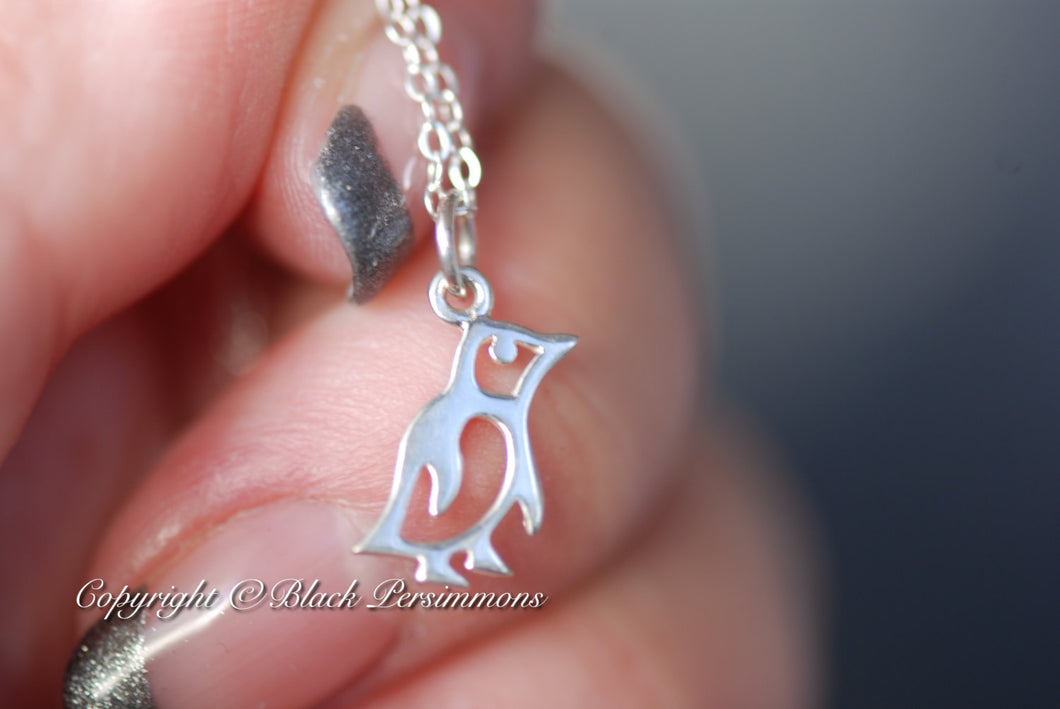 Baby Penguin Necklace - Solid 925 Sterling Silver Charm - Insurance Included