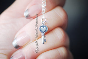 Heart Key Necklace - Solid 925 Sterling Silver Charm - Insurance Included