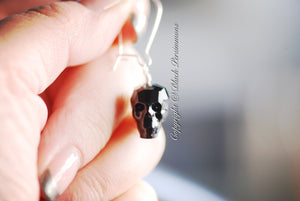 Skulls Earrings - Swarovski Crystal Passions® Jet 14x13x10mm Faceted Skull - Insurance Included