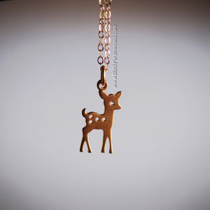 Fawn Necklace - 24k Gold Plated Sterling Silver Vermeil Deer Bambi Pendant Charm - Insurance Included