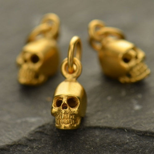 Mini Skull Charm Necklace - Satin 24K Gold Plated Sterling Silver