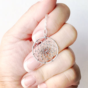 Dream Catcher Necklace - Solid 925 Sterling Silver