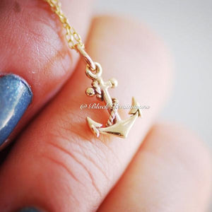 Pirate's Anchor Charm Necklace - Natural Bronze