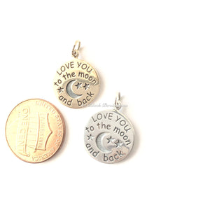 Love You to the Moon and Back Necklace - Natural Bronze Charm 14K Gold Filled Delicate Chain - Insurance Included