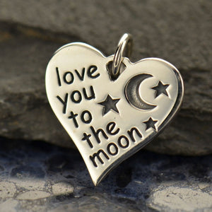 Love You to the Moon Heart Necklace - Solid 925 Sterling Silver Stars Moon Heart Charm -  Insurance Included