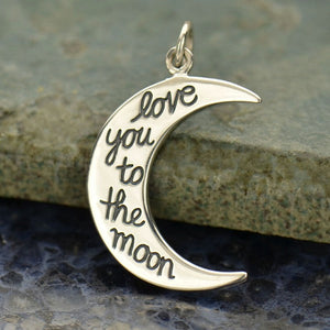 Love You to the Moon Necklace - Solid 925 Sterling Silver Pendant - Insurance Included