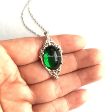 Emerald City Sterling Silver Necklace - VIctorian Goth Vintage Swarovski Emerald Crystal Cabochon - Insurance Included