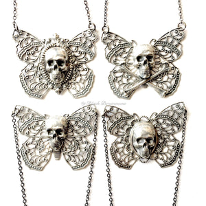 Yriyega Filigree Butterfly Skull Crossbones Necklace No. 1 - Antique Sterling Silver Plated Brass