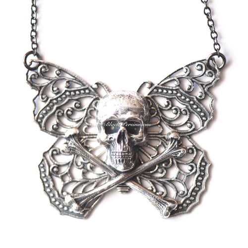 Copy of Yriyega Filigree Butterfly Skull Crossbones Necklace No. 4 - Antique Sterling Silver Plated Brass