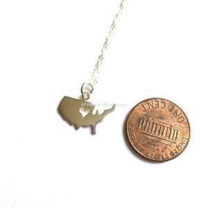 I Love United States of America Necklace - Solid 925 Sterling Silver Charm Pendant - Insurance Included
