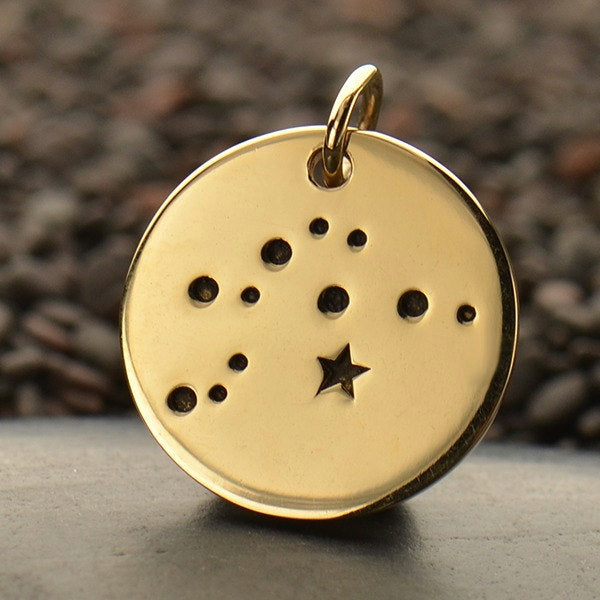 AQUARIUS Natural Bronze Zodiac Constellation Disc - Add A Chain Option Avaliable - Insurance Included