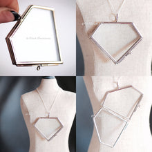 Diamond Necklace - White Plated Picture Glass Hinged Frame Pendant - Solid 925 Sterling Silver