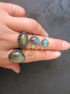Hertha Labradorite Ring - Solid 925 Sterling Silver