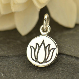 Etched Small Lotus Flower Necklace - Solid 925 Sterling Silver