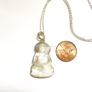 Hand Carved Mother of Pearl Buddha Pendant Necklace - Solid 925 Sterling Silver