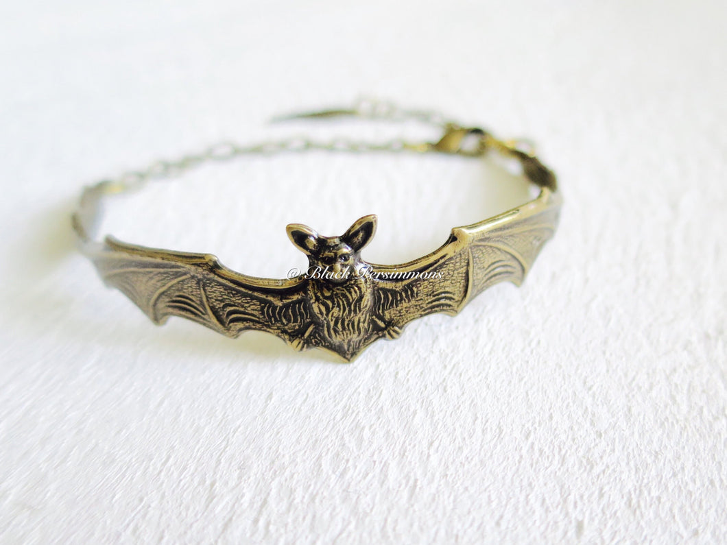 The Bat Bracelet - Antique Gold Plated Brass