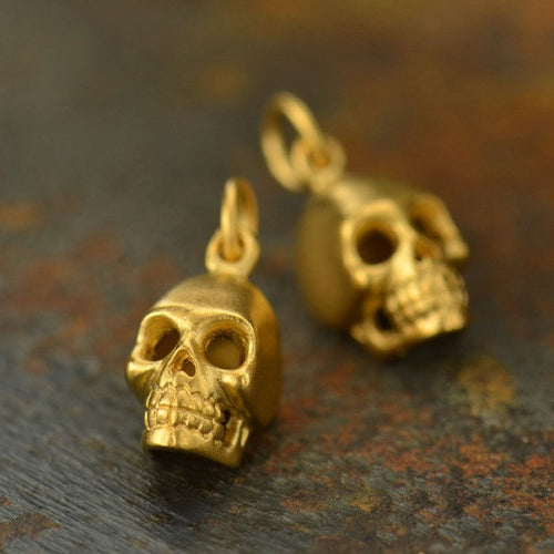 Skull Necklace - 24K Gold Plated Sterling Silver