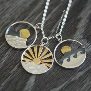 Mountain and Ocean Pendant with Bronze Sun Pendant Necklace - Solid 925 Sterling Silver