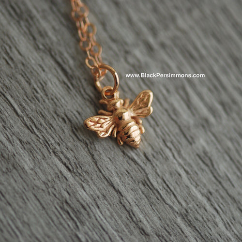 Honeybee Bumble Bee Charm Necklace - 18k Rose Gold Plated Sterling Silver
