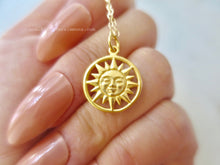 The Sun illuminating the World Necklace - Satin 24k Gold Plated Sterling Silver