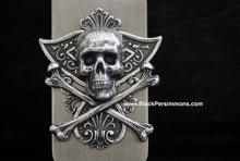 Kantoli Money Clip - Skull Cross Bones Antique Sterling Silver Plated Brass Stamping - Stainless Steel Clip