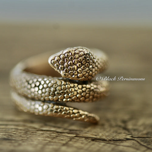Bronze Snake Ring - Natural Bronze - Size 7
